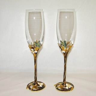 Italian Brown and Yellow Floral Champagne Flute Glasses (Set of 2)