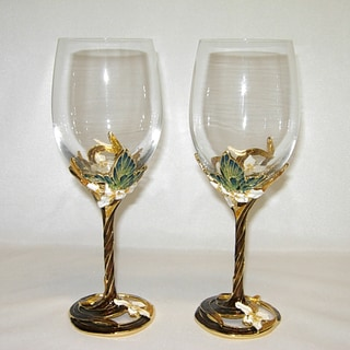 Italian Brown and White Floral Champagne Flute Glasses (Set of 2)
