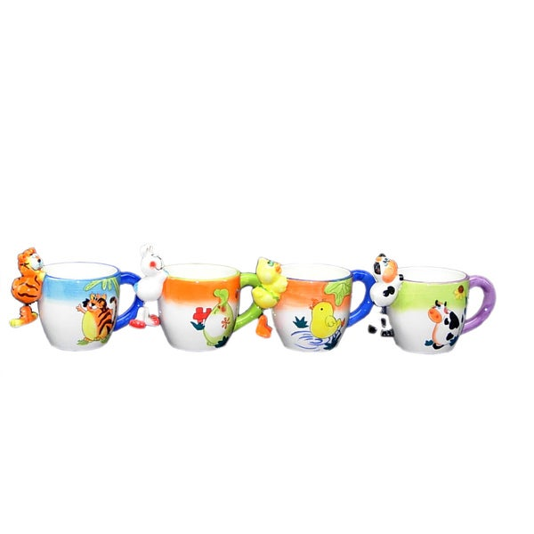 Threestar Assorted Color Hanging Animal Coffee Mugs/ Tea Cups (Set of 4)