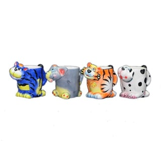 Threestar Assorted Animals Coffee Mugs/ Tea Cups (Set of 4)