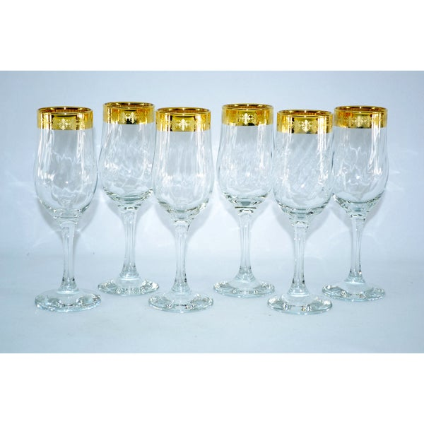 Threestar 14k Gold Rim Fleur De Lis Pattern Italian Champagne Flute Wine Glasses (Set of 6) 10372074