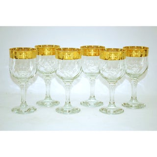 Threestar 14k Gold Rim Fleur De Lis Pattern Italian Wine Glasses (Set of 6)