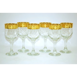 Threestar 14k Gold Rim Fleur De Lis Pattern Italian Wine Glasses (Set of 6)