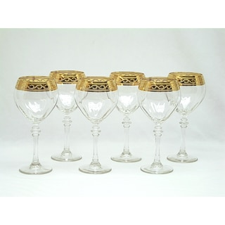 Threestar 14k Gold Rim Pattern Italian White Wine Glasses (Set of 6)