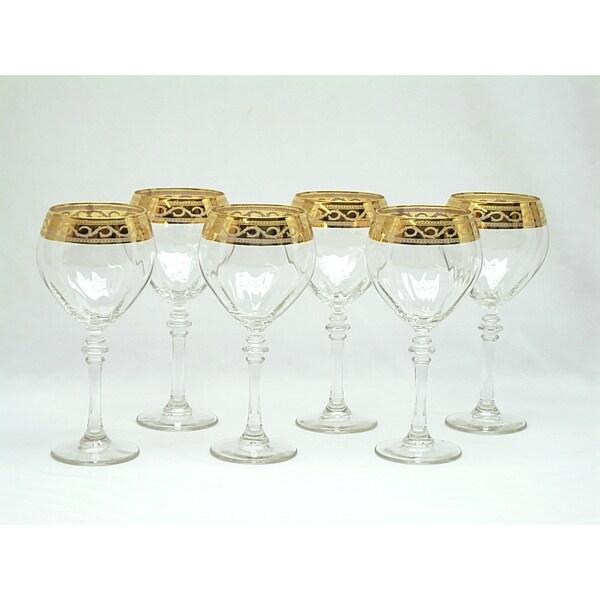 Threestar 14k Gold Rim Pattern Italian White Wine Glasses (Set of 6)