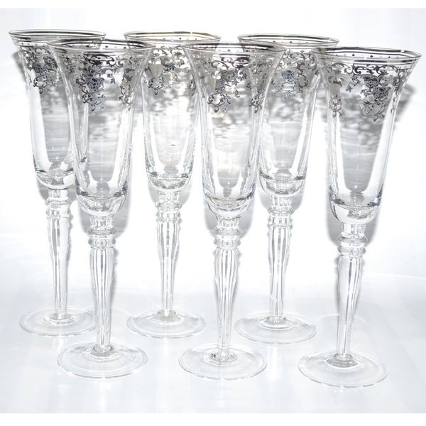 Italian Silver Accented Royal Floral Champagne Flutes (Set of 6)