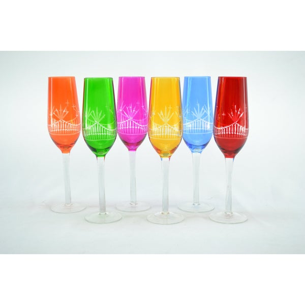 Clear Etching Crystal Multicolor Champagne Flutes (Set of 6)
