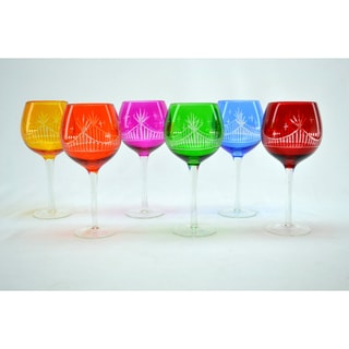 Clear Etching Crystal Multicolor Wine Glasses (Set of 6)
