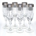 Italian Silver-accented Greek Key Versace Champange Flutes (Set of 6)