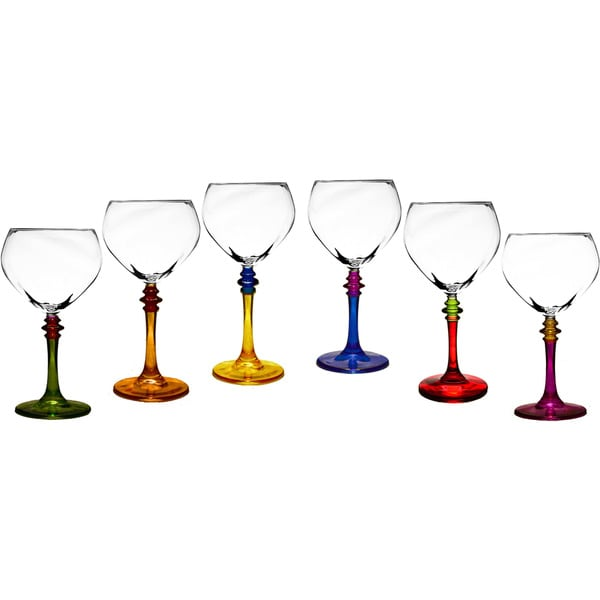 Italian Hand-painted Multicolor Fun Wine Glasses (Set of 6) 10372090
