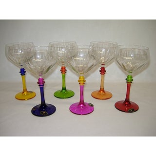 Italian Hand-painted Multicolor Fun Wine Glasses (Set of 6)