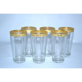 Italian 14-karat Gold Greek Key Hi-Ball Wine Glasses (Set of 6)