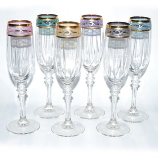 Italian Hand-painted 14-karat Gold Rim/ Multicolor Wine Glasses (Set of 6)