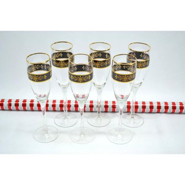 Threestar Crystal Black/ Gold Floral Champagne Flutes/ Wine Glasses (Set of 6)