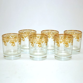 Threestar D.O.F. 14k Gold Pattern Tumbler Glasses (Set of 6)