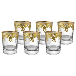 Double Old Fashioned Glasses with 14k Gold Pattern Rim Accent (Set of 6)
