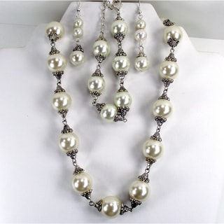 Cream Glass Pearl Wedding Jewelry Set