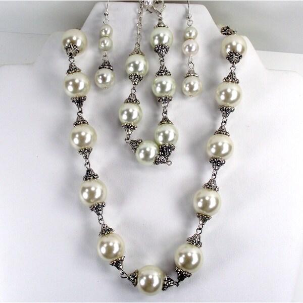 Cream Glass Pearl Wedding Jewelry Set