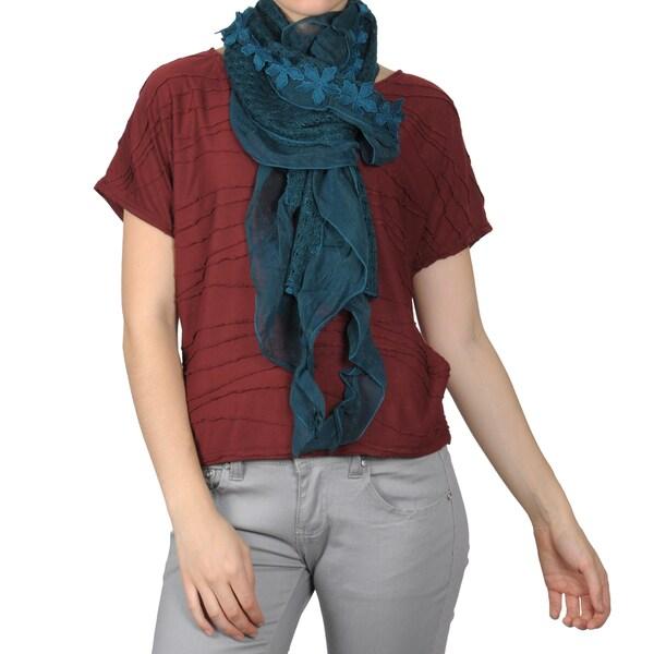 Hailey Jeans Co. Women's Flower Detail Crochet Scarf