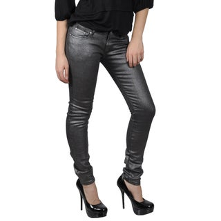Hailey Jeans Co. Juniors Black Metallic Stretch Skinny Jeans