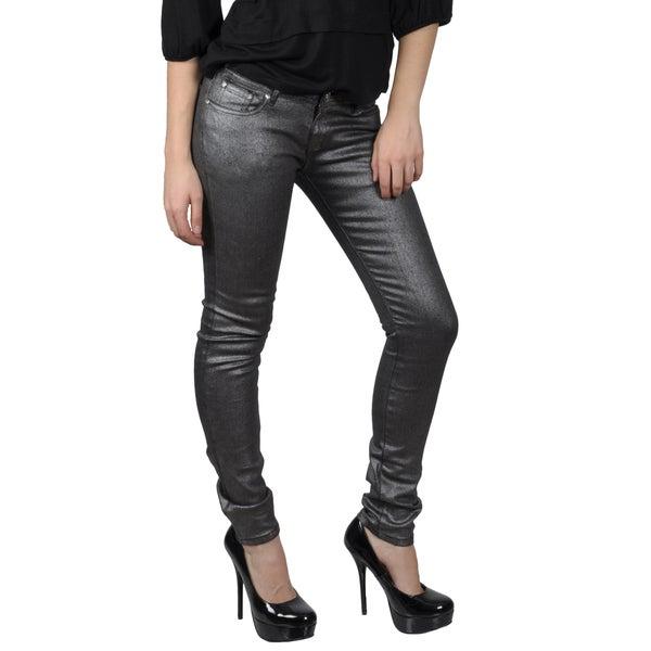 Hailey Jeans Co. Juniors Black Metallic Stretch Skinny Jeans