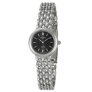 Seiko Women's Stainless-Steel Black-Dial 'Solar' Watch