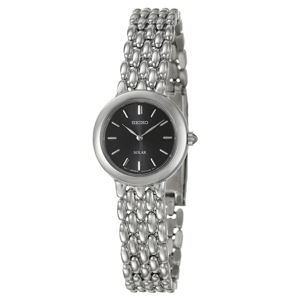 Seiko Women's Stainless-Steel Black-Dial 'Solar' Watch