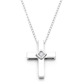 10k White Gold Diamond Accent Cross Necklace (H-I, I1-I2)