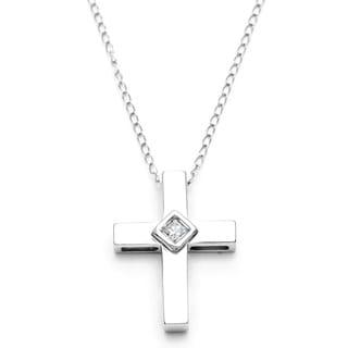 10k White Gold Diamond Accent Cross Necklace (H-I, I1-I2)