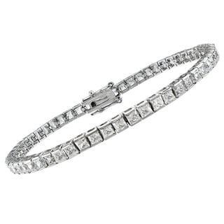 14k White Gold 3 1/4ct TDW Princess-cut Diamond Bracelet