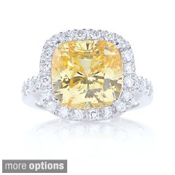 .925 Sterling Silver Cushion Cut Cubic Zirconia Halo Set Cocktail Ring