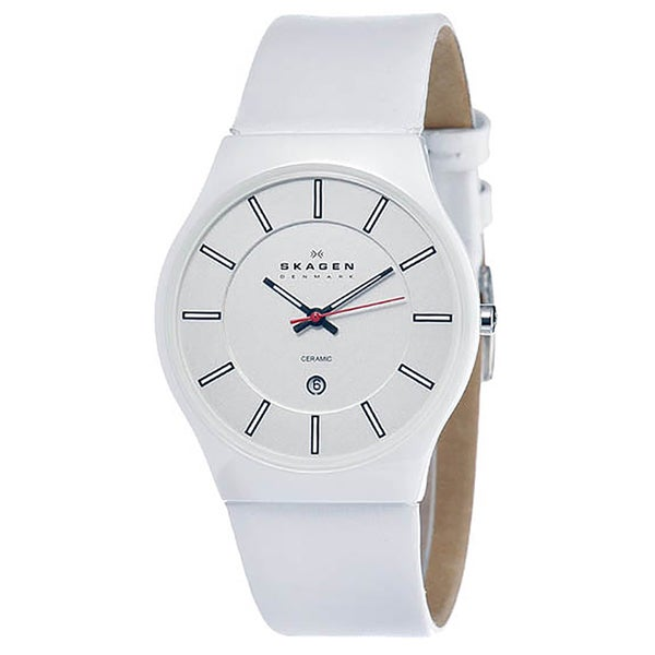 Skagen Men's Ceramic Shiney White Dial Watch