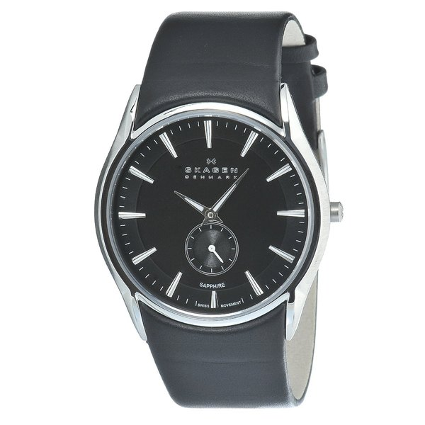 Skagen Men's Stainless Steel Black Leather Strap Watch