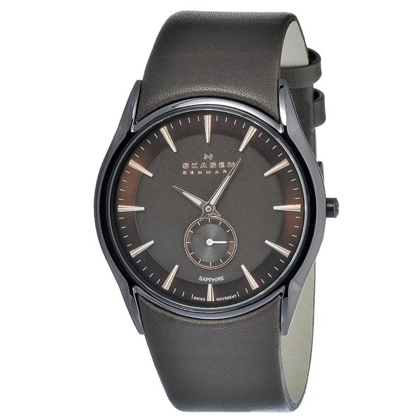 Skagen Men's Stainless Steel Brown Leather Strap Watch
