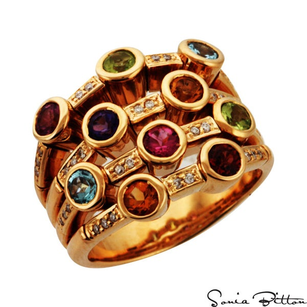 Sonia Bitton 14k Gold Multi-gemstone and 1/5ct TDW Diamond Ring (G-H, SI1-SI2)