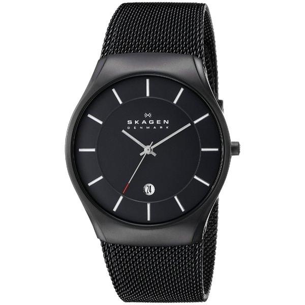 Skagen Men's Black Titanium Mesh Strap Watch