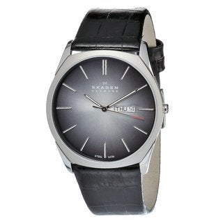 Skagen Men's Steel Black Leather Strap Date Watch