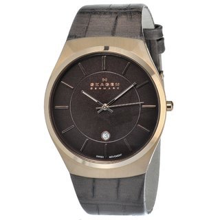 Skagen Men's Rose-goldtone Leather Strap Watch