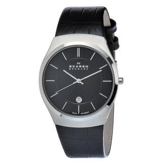 Skagen Men's Leather-strap Stainless Steel Date Watch