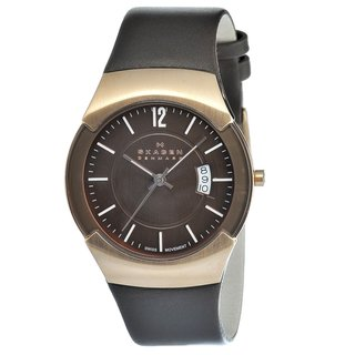 Skagen Men's Goldtone Steel Brown Leather Strap Watch