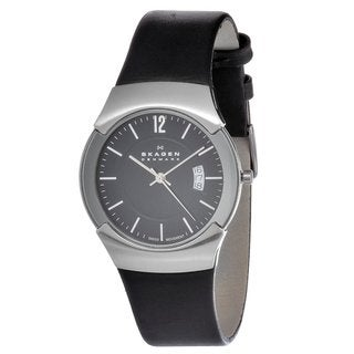 Skagen Men's 981XLSLB Black Leather Swiss Quartz Watch