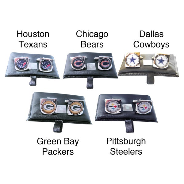 NFL 5/8-inch Round Engraved Logo Design Cufflinks in a Gift Box Set