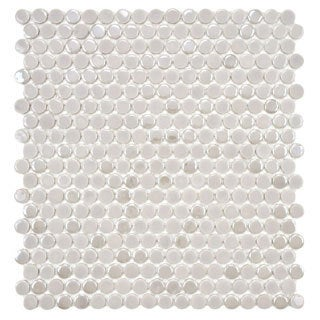 SomerTile 11.25x12-in Posh Penny Round Ash Porcelain Mosaic Tile (Pack of 10)