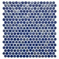 SomerTile 11.25x12-in Posh Penny Round Blueberry Porcelain Mosaic Tile (Pack of 10)