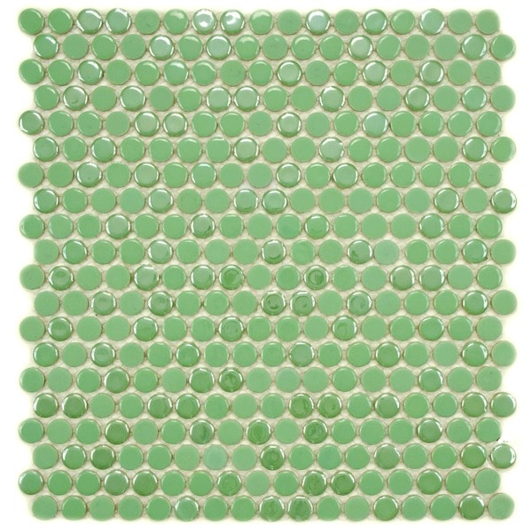 SomerTile 11.25 x 12-inch Posh Penny Round Capri Porcelain Mosaic Wall Tile (Case of 10)