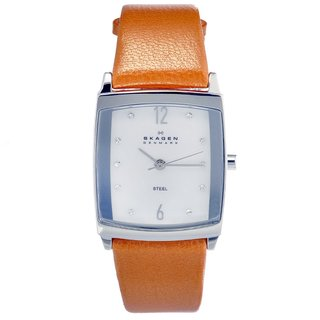 Skagen Women's Steel Orange Leather Strap Watch