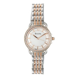 Bulova Women's Diamond Rose and Stainless Steel Two Tone Watch