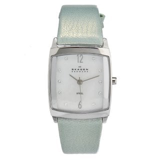 Skagen Women's Soft Blue Leather Strap Steel Case Watch