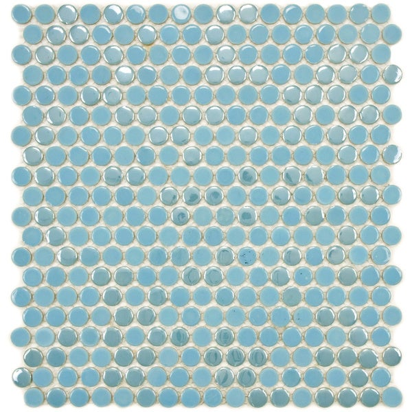 SomerTile 11.25x12-in Posh Penny Round Sky Porcelain Mosaic Tile (Pack of 10)
