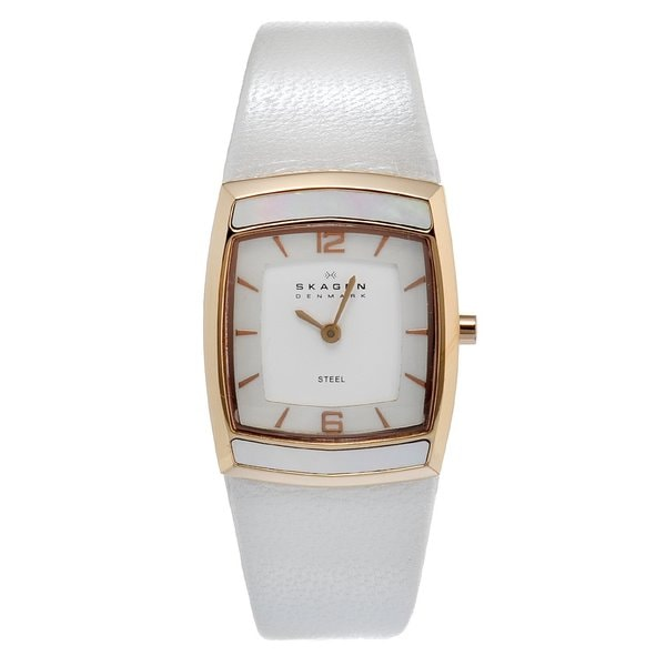 Skagen Women's Rose Gold Square Dial White Leather Strap Watch